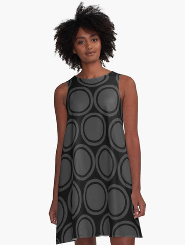 Black and Grey Circles A-Line Summer Dress - Tru-Artwear.ca