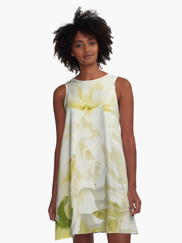 Creamy Peony A-Line Summer Dress - Tru-Artwear.ca