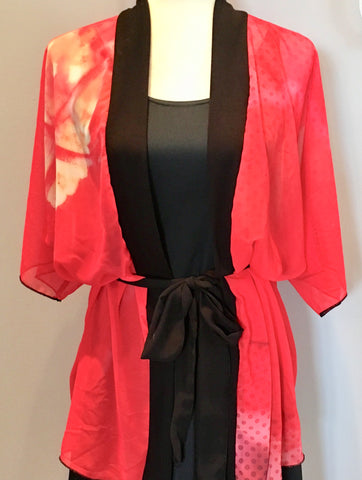 1. Red Hibiscus with Dots Kimono Robe | Loungewear | Beachwear | Lingerie Robe - Tru-Artwear.ca