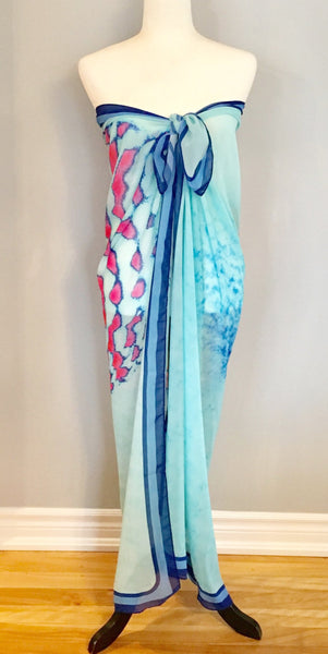 Beach Coverup | Scarves | Limited Edition: 'Turquoise Vintage Button' Fashion & Travel Scarf - Tru-Artwear.ca