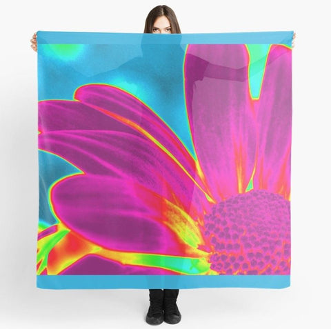 1. Beach Cover-up | Scarves | Limited Edition 'Neon Daisy' Travel Scarf - Tru-Artwear.ca