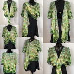 'Peacock Feathers No.3' Draped Kimono Cardigan - Tru-Artwear.ca