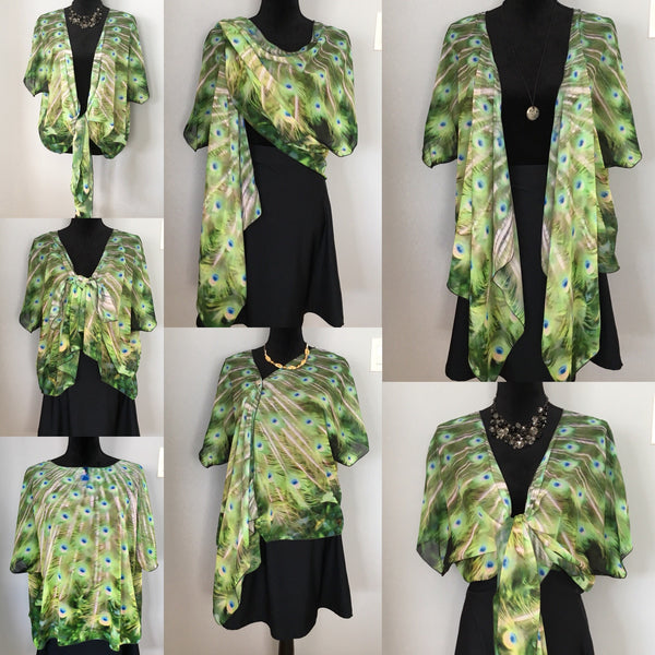 1. 'Peacock Feathers No.3' Draped Kimono Cardigan - Tru-Artwear.ca