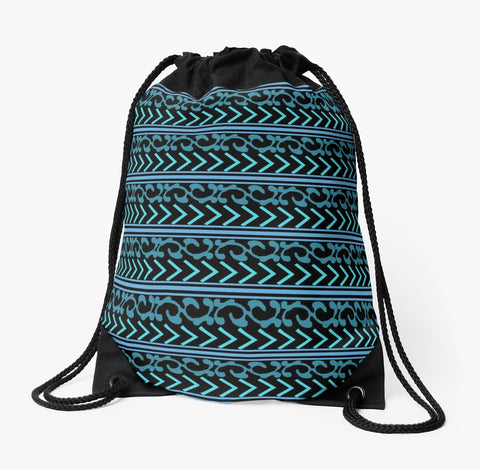 """Turquoise and Black Patterned"" Drawstring Beach Bag by Trū Artwear"