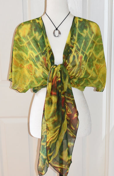 6. 'Green Red Water' Draped Kimono Cardigan - Tru-Artwear.ca