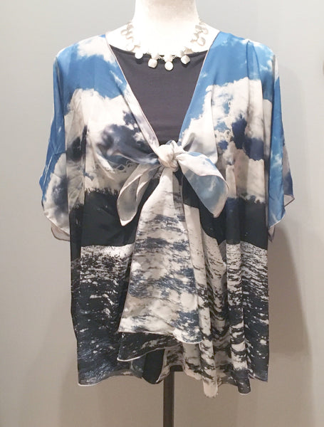'2. Lake Ontario' Draped Fashion Cardigan - Tru-Artwear.ca