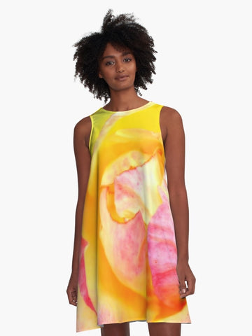 Yellow Tropical Rose A-Line Summer Dress