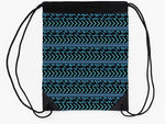 Turquoise and Black Drawstring Beach Bag