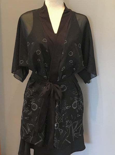 1. Flowers at Midnight Chiffon Kimono Robe |  Loungewear | Beachwear | Lingerie Robe - Tru-Artwear.ca