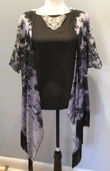1. 'Purple Trees Silhouette' Draped Kimono Cardigan - Tru-Artwear.ca