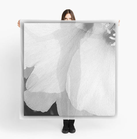 'Black and White Petals' Beach Wrap - Tru-Artwear.ca