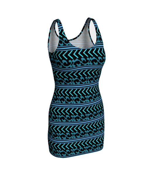 Turquoise and Black Patterned Fitted Bodycon Dress