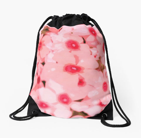 """Mod Pink Flowers"" Drawstring Beach Bag - Tru-Artwear.ca"