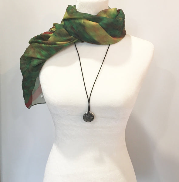 "'1. Beach Scarf Cover-ups | Camo-Inspired Scarves |  Limited Edition:  ""Green Red Water Abstract"" - Tru-Artwear.ca"