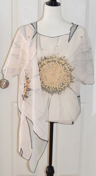 White Daisy Draped Fashion Cardigan ( Only 23 left!) - Tru-Artwear.ca