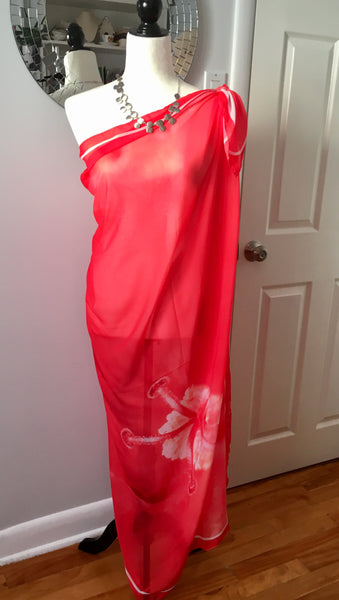 Beach Coverups | Red Beach Scarves | Limited Edition: 'Red Hibiscus' Beachwear Scarf - Tru-Artwear.ca