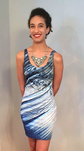 Blue and White Feather Fitted Dress - Tru-Artwear.ca