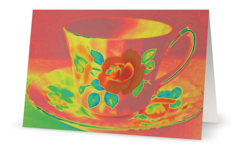 GC- Coral Vintage Teacup Greeting Card - Tru-Artwear.ca
