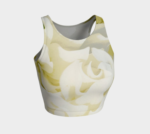 Cream Peony Athletic Crop Tank* - Tru-Artwear.ca