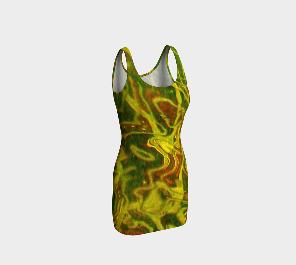 Green Red Water Fitted Dress - Tru-Artwear.ca