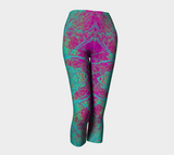 Pink and Turquoise Nature Symbol Capris - Tru-Artwear.ca