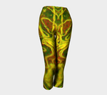 Green Red Water Butterfly Capris - Tru-Artwear.ca