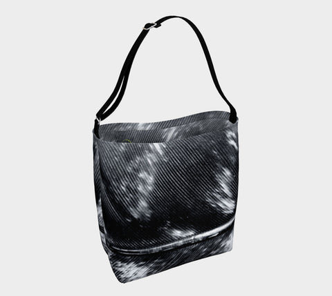 Black and White Feather Stretch Neoprene Beach & Day Tote - Tru-Artwear.ca