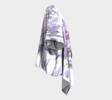 'Lavender Chive on White' Draped Kimono Cardigan - Tru-Artwear.ca