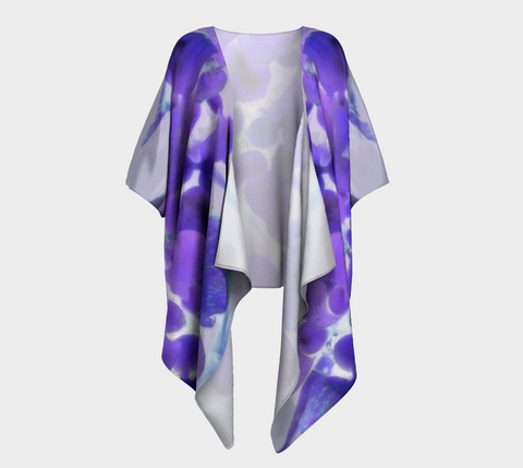 Purple Water Plant Draped Fashion Cardigan ** - Tru-Artwear.ca