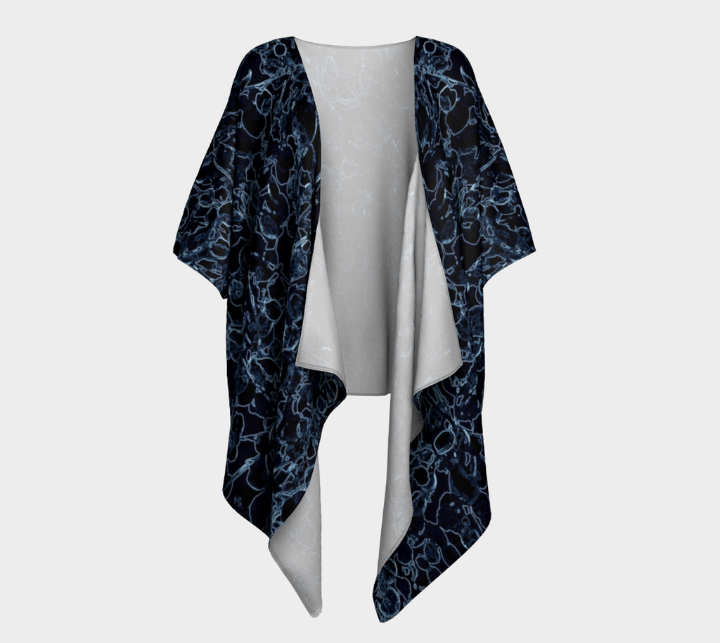 Black and Blue Vine Draped Kimono Cardigan - Tru-Artwear.ca