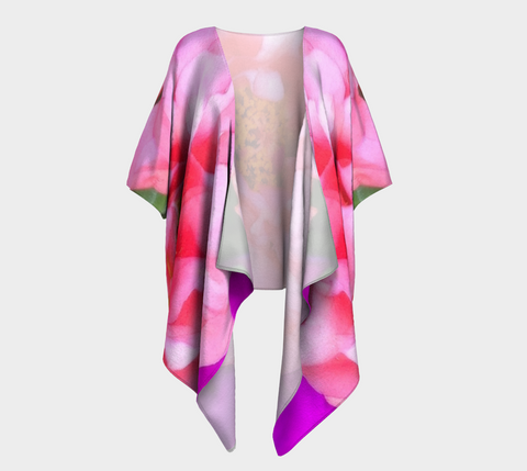 Pink Portulaca Draped Fashion Cardigan - Tru-Artwear.ca