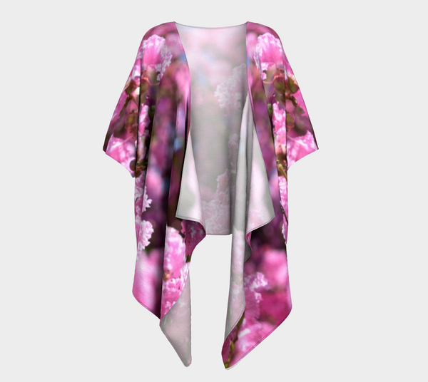 Pink Blossoms Draped Fashion Cardigan - Trū Canadian ArtWear by Nadia Bonello