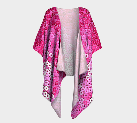 Pretty and Pink Draped Fashion Cardigan - Tru-Artwear.ca