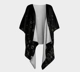 'Flowers at Midnight' Draped Kimono Cardigan - Tru-Artwear.ca