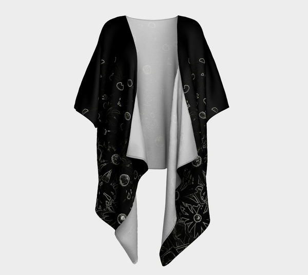 1. 'Flowers at Midnight' Draped Kimono Cardigan - Tru-Artwear.ca