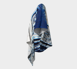 Blue and White Feather Draped Kimono Cardigan - Tru-Artwear.ca