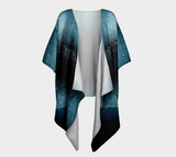 Turquoise Aurora Borealis Draped Fashion Cardigan - Trū Canadian ArtWear by Nadia Bonello