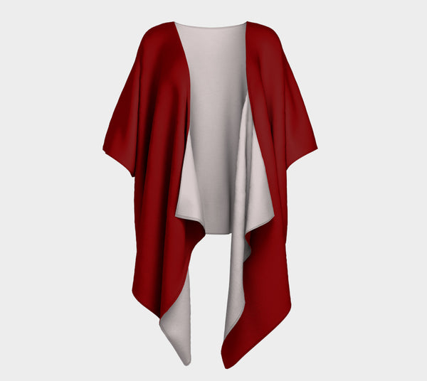 Rich Red Draped Fashion Cardigan - Tru-Artwear.ca