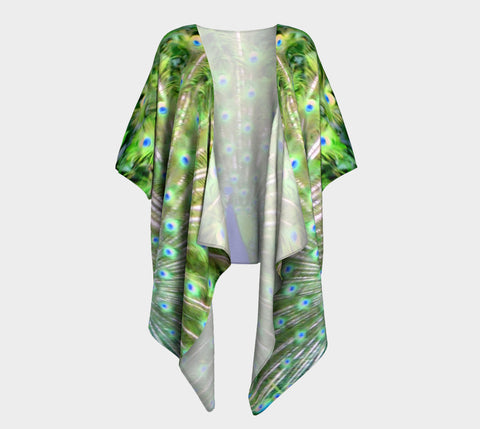 Peacock Feathers No.2 Draped Fashion Cardigan - Tru-Artwear.ca