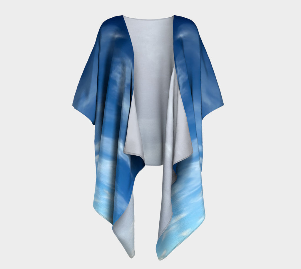 Sky with Clouds Draped Fashion Cardigan - Tru-Artwear.ca