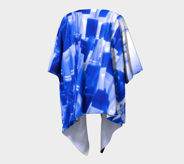 Blue Brush Draped Kimono Cardigan No.2 - Tru-Artwear.ca