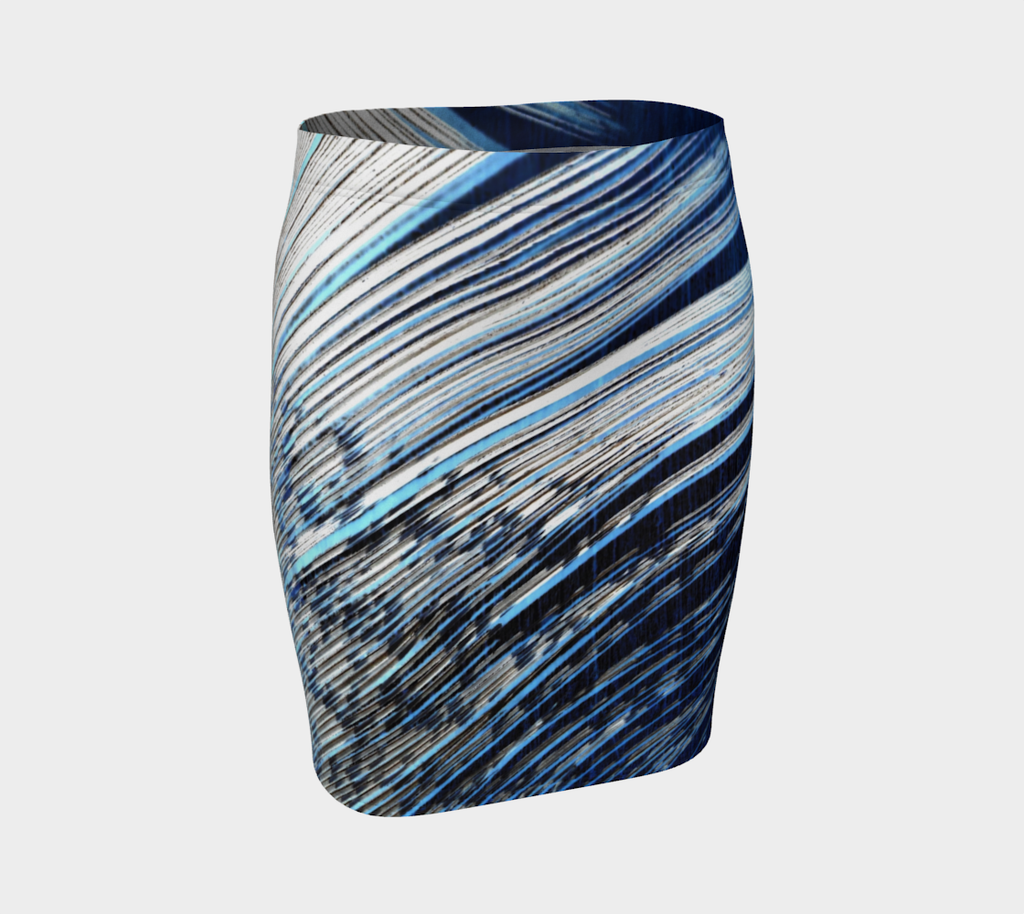 3. Blue and White Feather Fitted Skirt - Tru-Artwear.ca