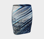 Blue and White Feather Fitted Skirt - Tru-Artwear.ca