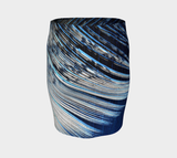 Blue and White Feather Fitted Skirt #2 - Tru-Artwear.ca