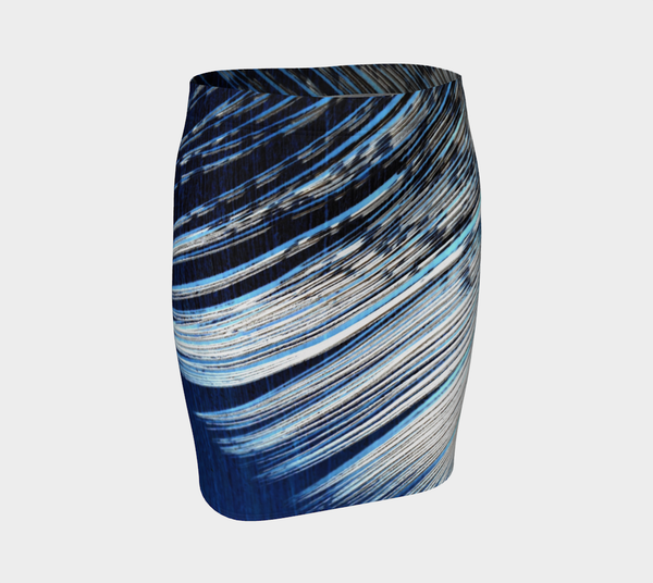 3. Blue and White Feather Fitted Skirt #2 - Tru-Artwear.ca