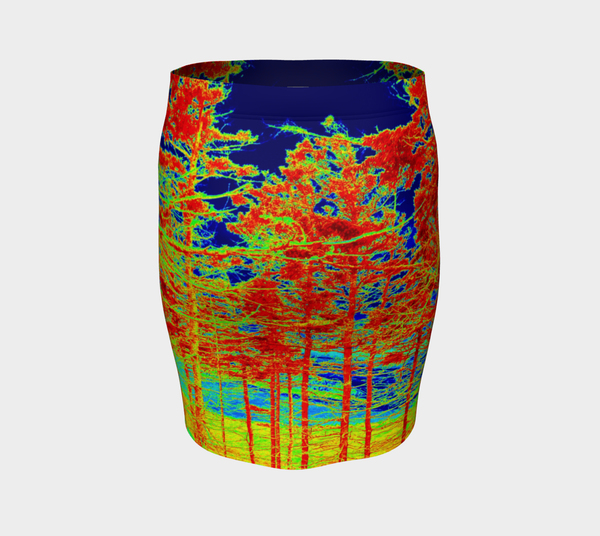 1 Red Trees Canada Fitted Skirt - Trū Canadian ArtWear by Nadia Bonello