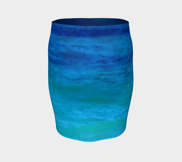 Water Colours Fitted Skirt No.2 - Tru-Artwear.ca