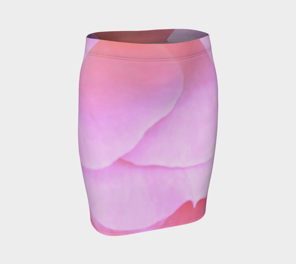 'A' ~ Light Pink Petals' Fitted Skirt - Tru-Artwear.ca