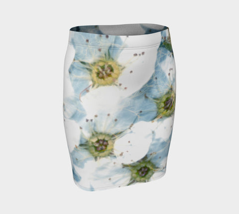 White Flowers & Water Fitted Skirt - Tru-Artwear.ca
