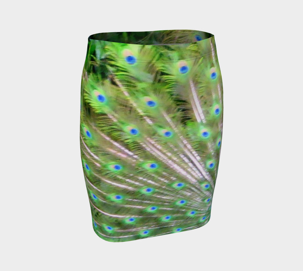 Peacock Feathers Fitted Skirt - Tru-Artwear.ca